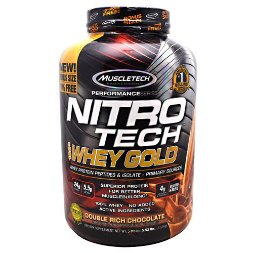 Nitro Tech 100% Whey Gold, Double Rich Chocolate, 5.53 lbs (2.51 kg)