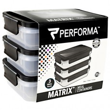 Meal Prep Containers, Black, 3 - 24 oz Containers