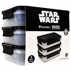 Meal Prep Containers, Star Wars (darth Vader), 3 - 24 oz Containers